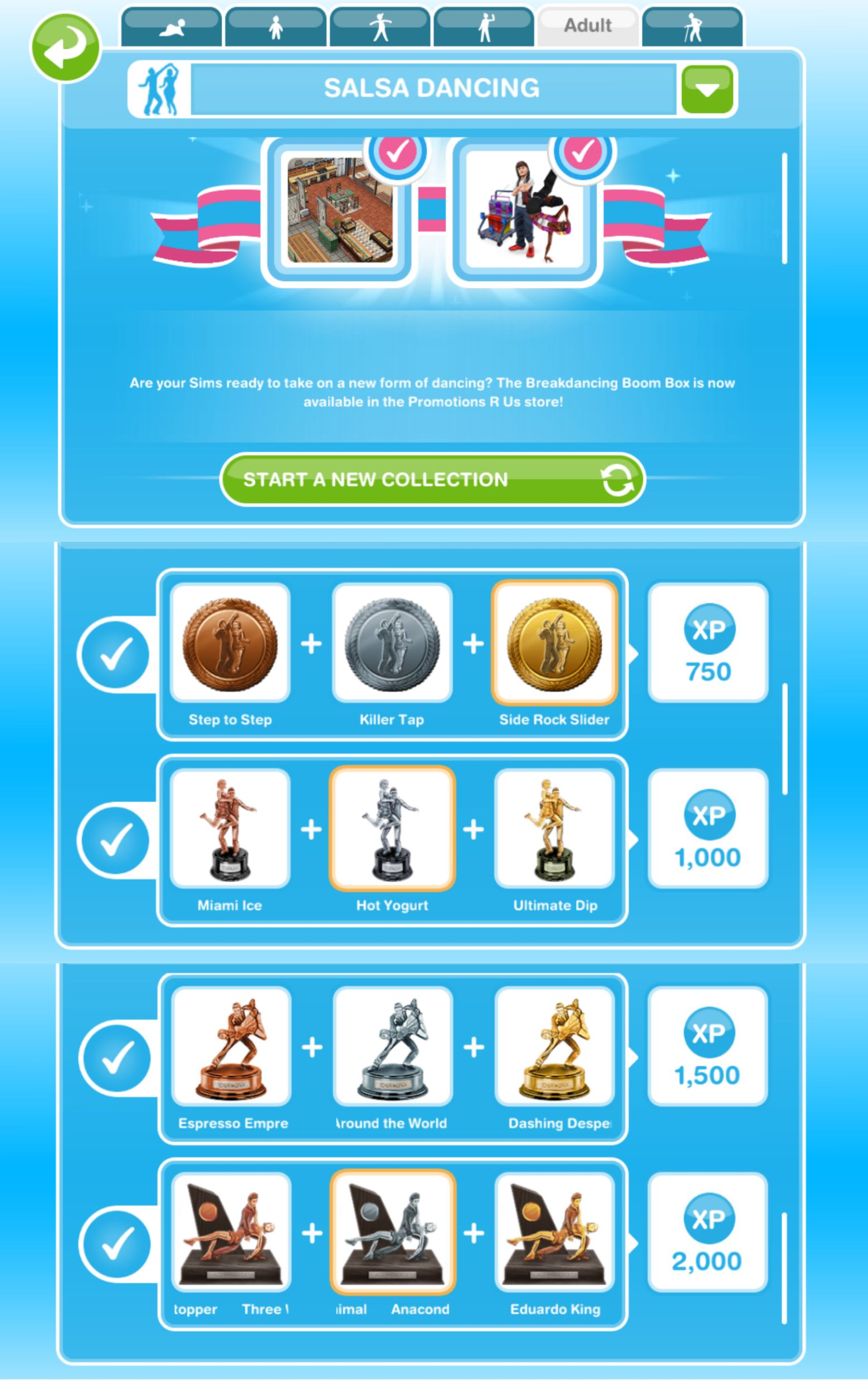 The Sims Freeplay Hobbies Salsa Dancing Girl Who Games Cool Dance Moves Step By Diagram You Will Earn Xps When Complete A Row In Hobby But To Collection Need Find All 12 Of Collectibles