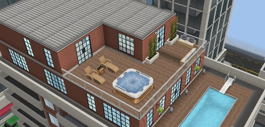 The sims freeplay house guide part four penthouse for Pool design sims 3