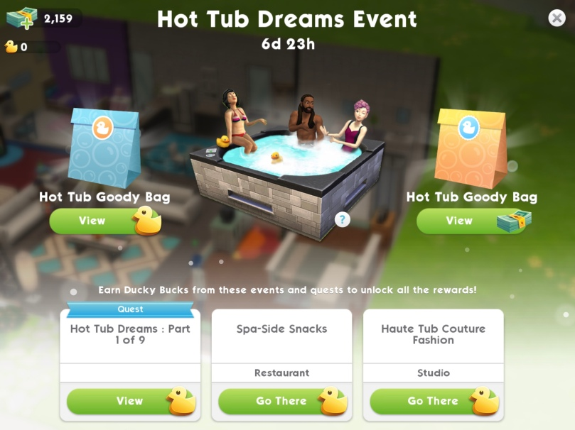 The Sims Mobile Hot Tub Dreams Event The Girl Who Games - Quest pool table
