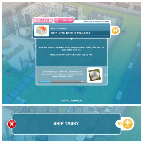 The Sims Freeplay- Back To The Wall Quest – The Girl Who Games