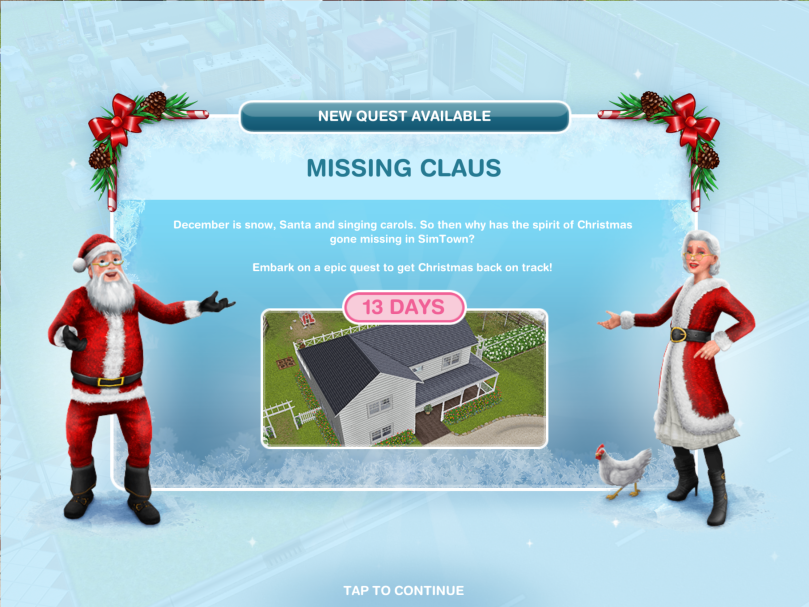 The Sims Freeplay Missing Claus Christmas 2018 Quest The Girl Who