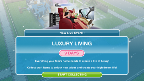 The Sims Freeplay- Luxury Living Live Event – The Girl Who Games